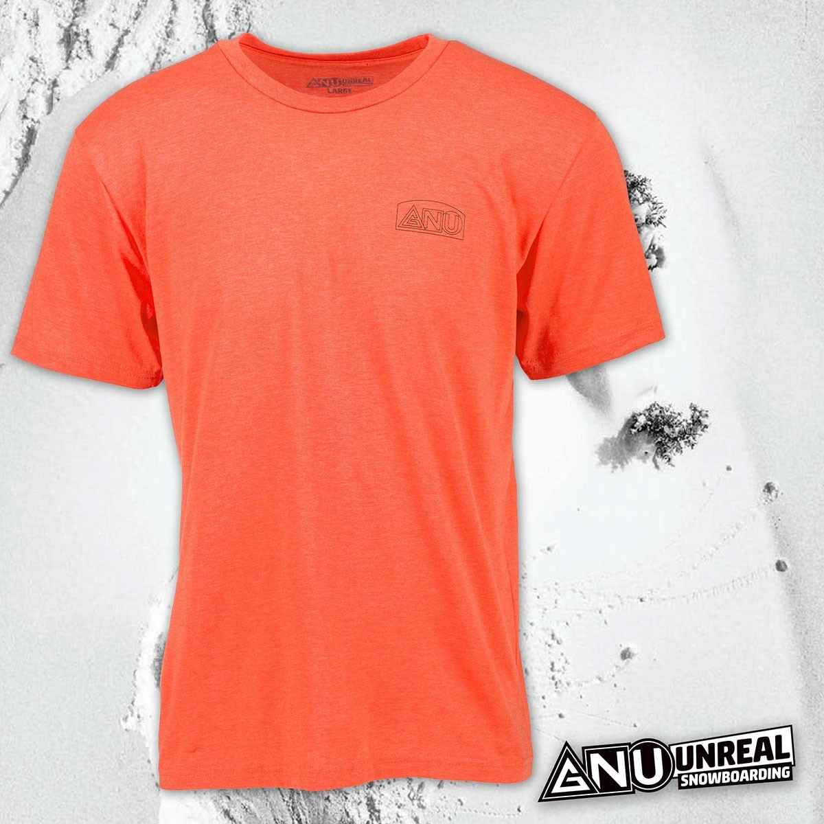 GNU HANDBUILT TEE HEATHER GREY/ORANGE - Изображение - AQUAMATRIX